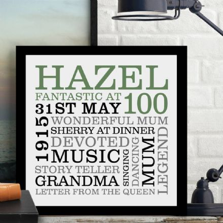 Personalised 100th Birthday Typographic Word Art